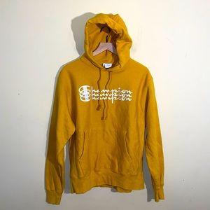 CHAMPION mustard embroidered hoodie M